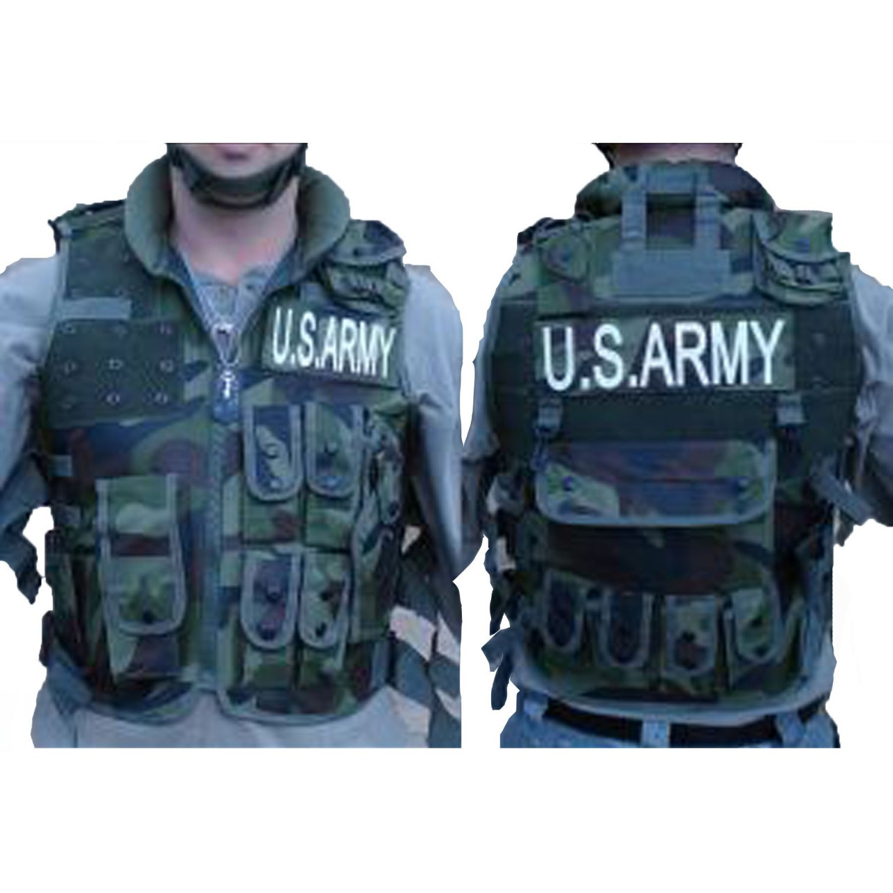 Army US Soldier Vest With Cap Mens Costume