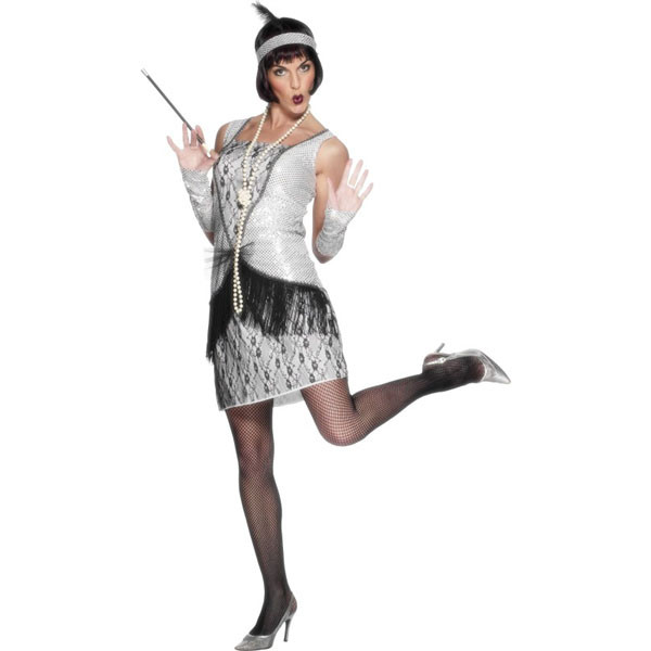 1920's Flapper Sexy Silver Womens Costumes