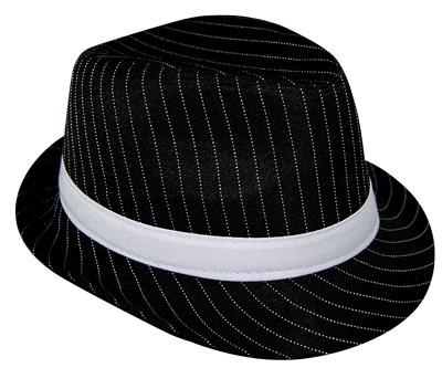 Pinstripe Gangster Black Hat